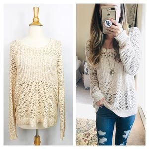 Urban Outfitters Oatmeal Open Knit Crew Sweater